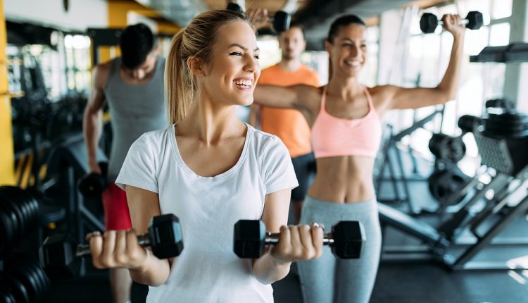 Picture of two fitness women in gym